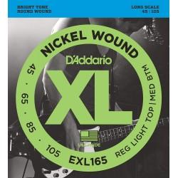 D'Addario EXL165 Nickel Wound Bass Strings, Light
