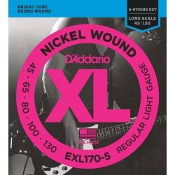 D'Addario EXL170-5 Nickel Wound Bas Strenge