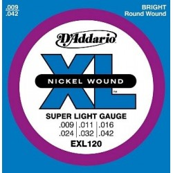 D'Addario EXL120 Electric Nickel Wound 09-42