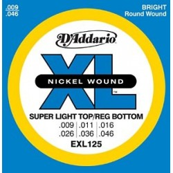 D'Addario EXL125 Electric Nickel W. Super Tops / Reg. Bottoms