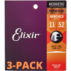 Elixir Nanoweb Custom Light Phosphor 3-PACK