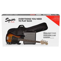 Fender SQ Affinity PJ Bas Pack BSB baspakke Brown Sunburst