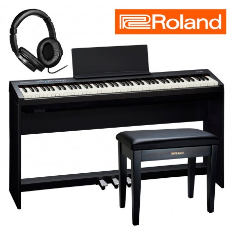 Roland FP-30 BK DeLuxe pakke m. Roland stativ, 3-pedalskinne, bænk og hovedtelefoner
