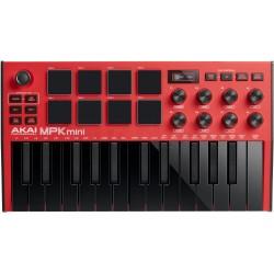 AKAI MPK Mini MK3 RD Keyboard Rød front