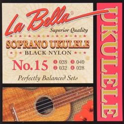 La Bella L-15 ukulele strenge soprano black nylon