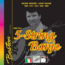 Boston Banjo strenge 5-str., Nickel Light