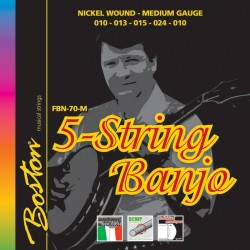 Boston Banjo strenge 5-str., Nickel Medium