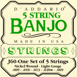 D'Addario Banjo strenge 5-strenget, light Gauge