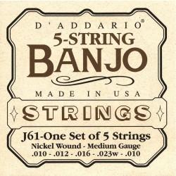 D'Addario banjostrenge 5-strenget, medium Gauge