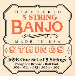 D'Addario banjostrenge 5-strenget, Ball End