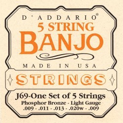 D'Addario banjostrenge 5-strenget, Light Gauge