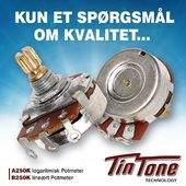 Hvis det er KVALITETS POTMETRE, du har brug for? Prøv: TIN TONEA250K Logaritmisk Potmeter B250K Lineært Potmeter Køb dem i butikken eller på Orkestergraven.dk